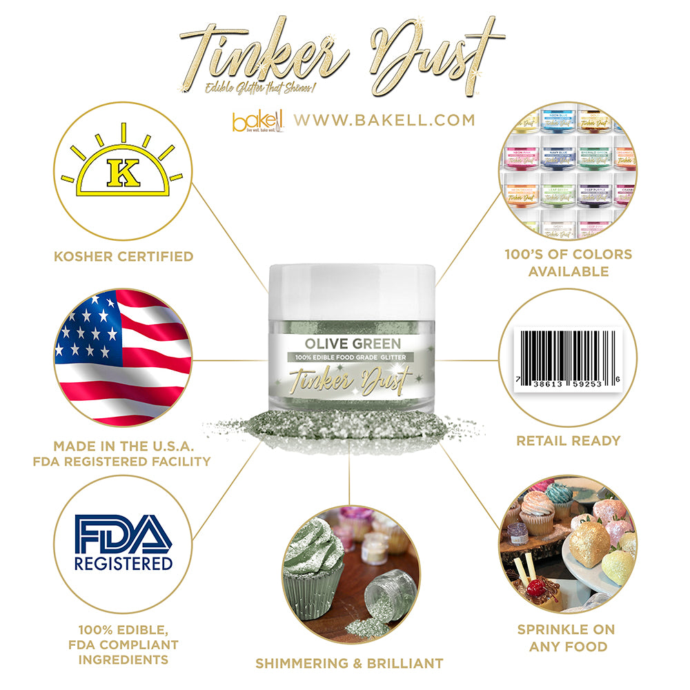 Olive Green Edible Glitter Tinker Dust | FDA Compliant | Kosher Certified | Made in the USA | Bakell.com