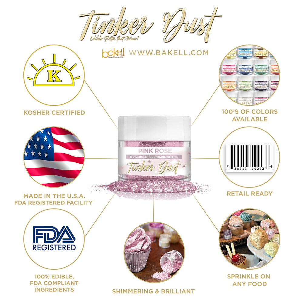 Pink Rose Edible Glitter Tinker Dust | FDA Compliant | Kosher Certified | Made in the USA | Bakell.com