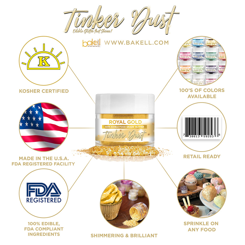 Royal Gold Edible Glitter Tinker Dust | FDA Compliant | Kosher Certified | Made in the USA | Bakell.com