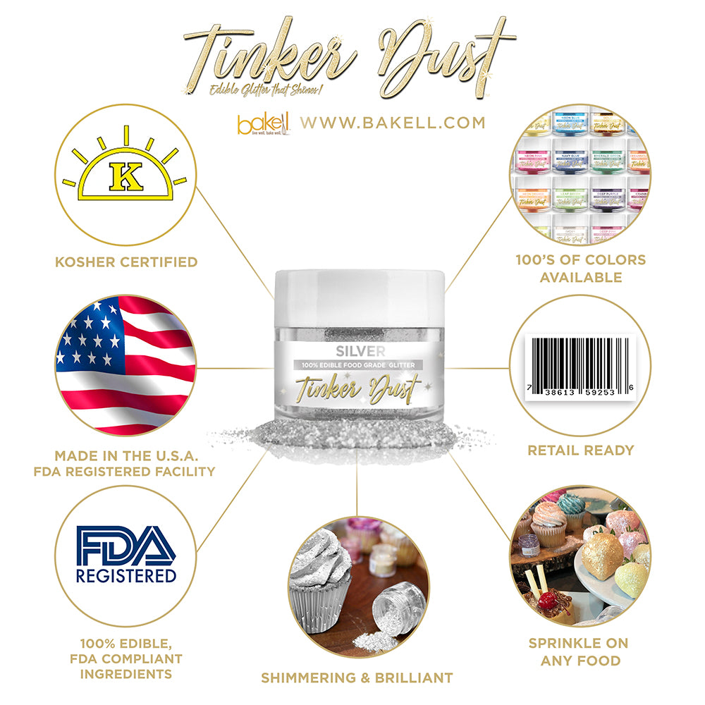 Silver Edible Glitter Tinker Dust | FDA Compliant | Kosher Certified | Made in the USA | Bakell.com