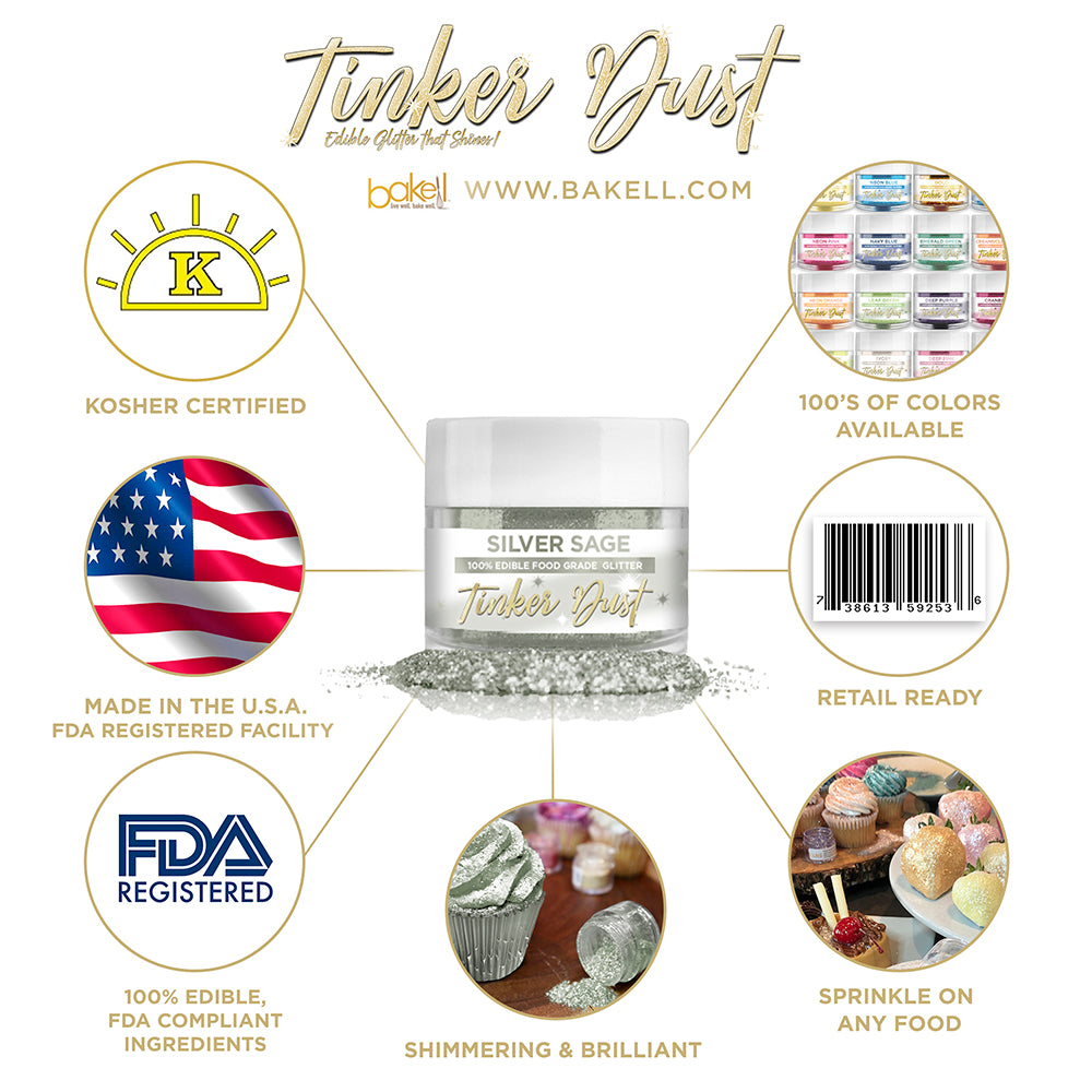 Silver Sage Edible Glitter Tinker Dust   FDA Compliant   Kosher Certified   Made in the USA   Bakell.com