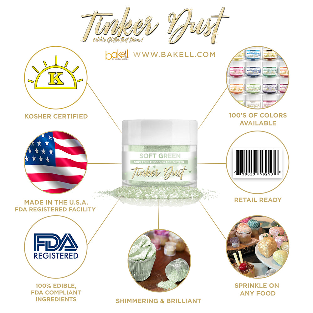 Soft Green Edible Glitter Tinker Dust | FDA Compliant | Kosher Certified | Made in the USA | Bakell.com