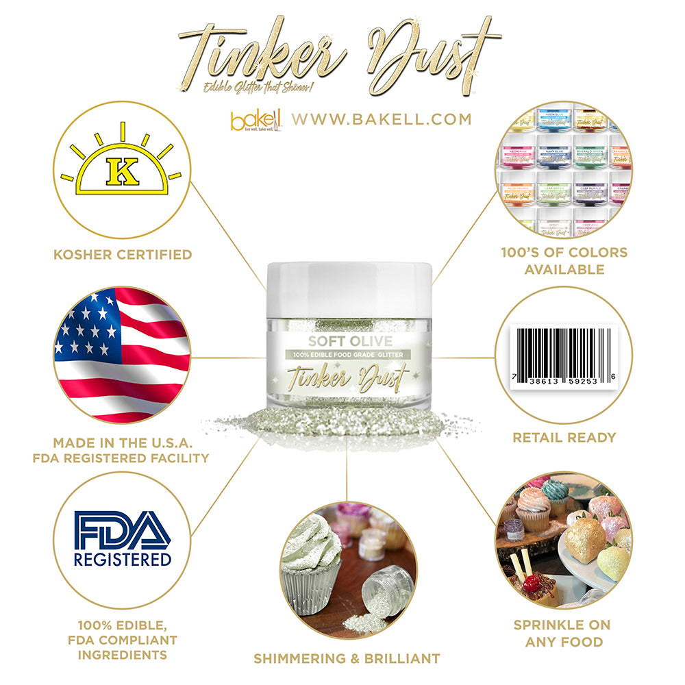 Soft Olive Edible Glitter Tinker Dust | FDA Compliant | Kosher Certified | Made in the USA | Bakell.com