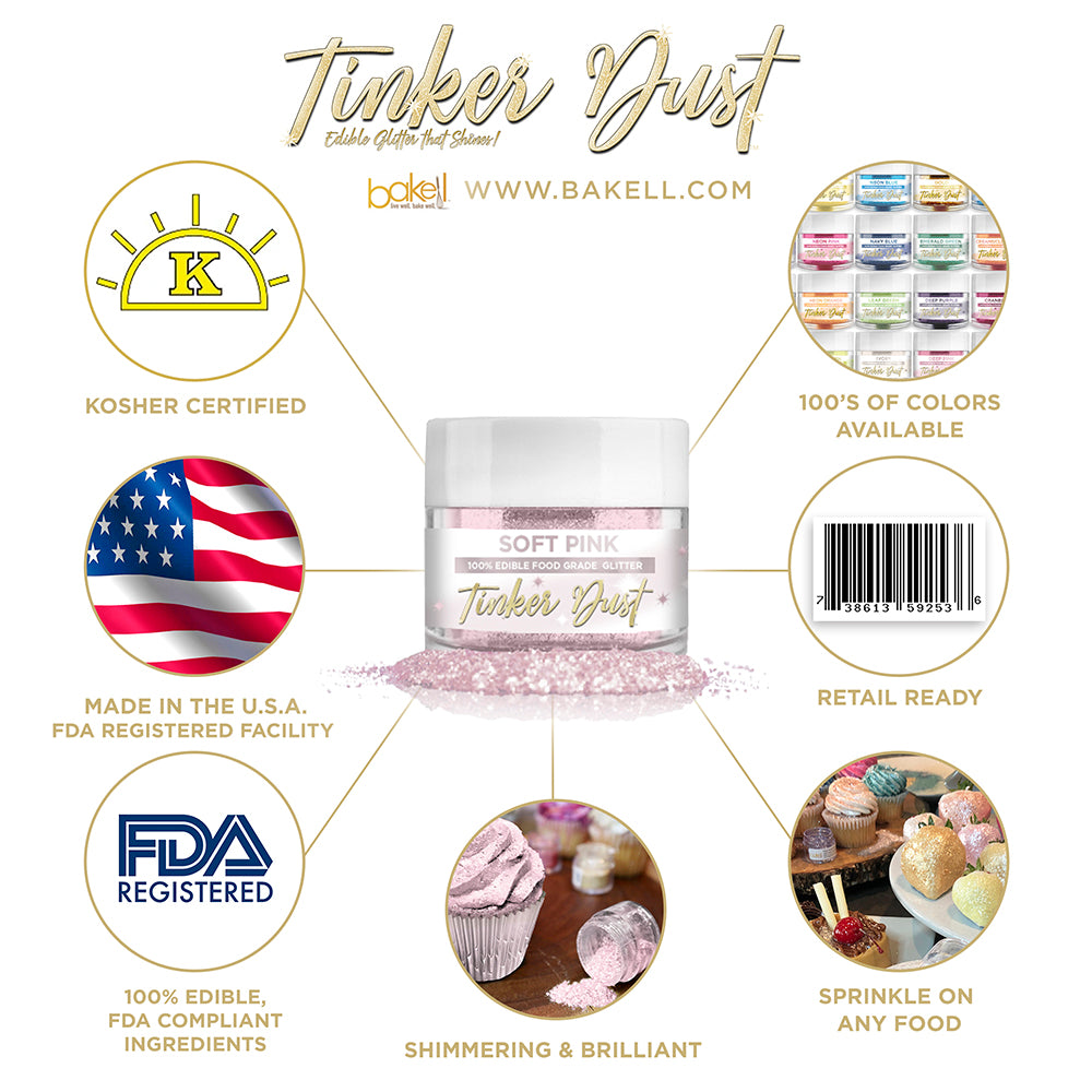 Soft Pink Edible Glitter Tinker Dust | FDA Compliant | Kosher Certified | Made in the USA | Bakell.com