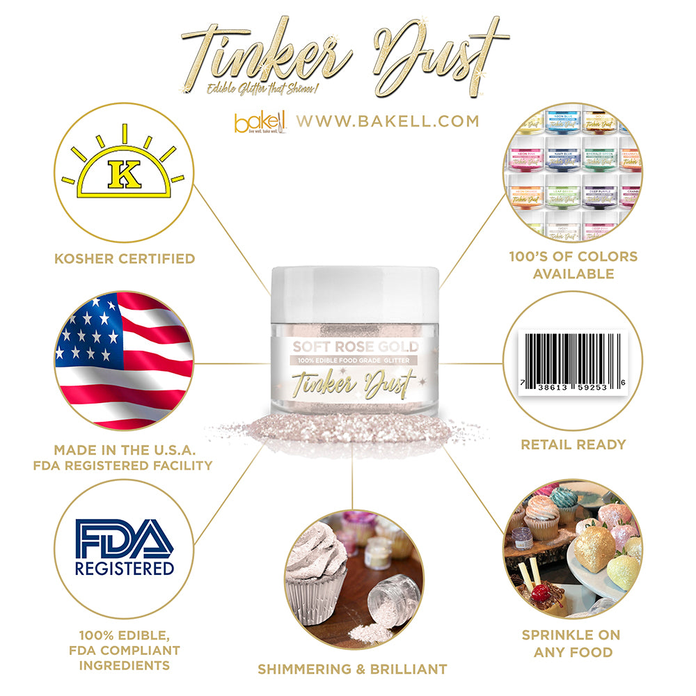 Soft Rose Gold Edible Glitter Tinker Dust | FDA Compliant | Kosher Certified | Made in the USA | Bakell.com
