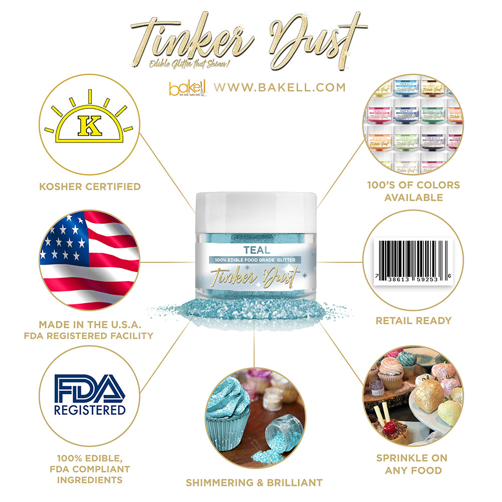 Turquoise Edible Glitter Tinker Dust | FDA Compliant | Kosher Certified | Made in the USA | Bakell.com