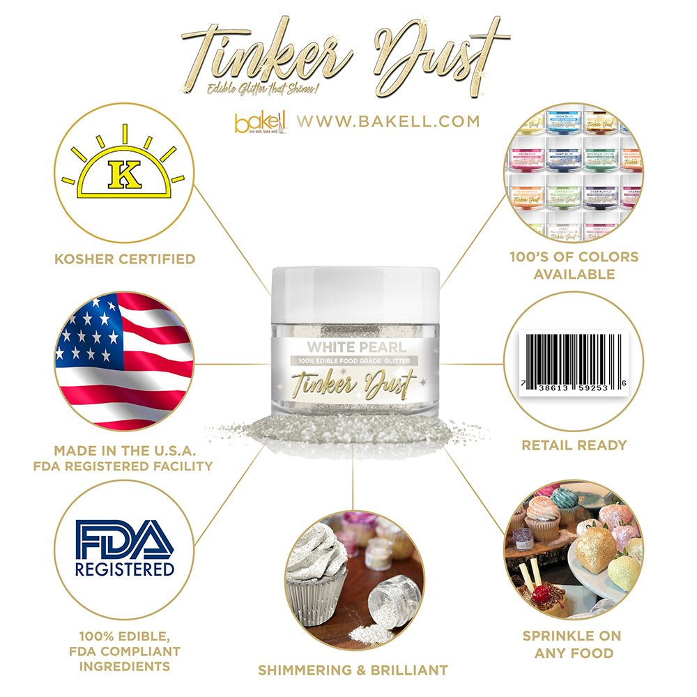 White Pearl Edible Glitter Tinker Dust | FDA Compliant | Kosher Certified | Made in the USA | Bakell.com