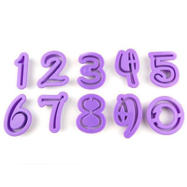 10 PC Set Font Numbers Cutout Sugarcraft Cutters-Decorating Tools-Bakell- | Bakell.com
