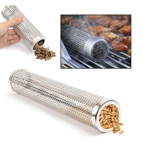 "12"" Cylinder Wood Chip BBQ Grill Smoker Box 