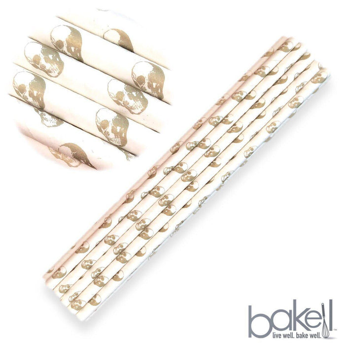 12 PC Cake Pop Party Straws - Gold Skull Cake Pop Sticks-Cake Pop Straws-Bakell- | Bakell.com