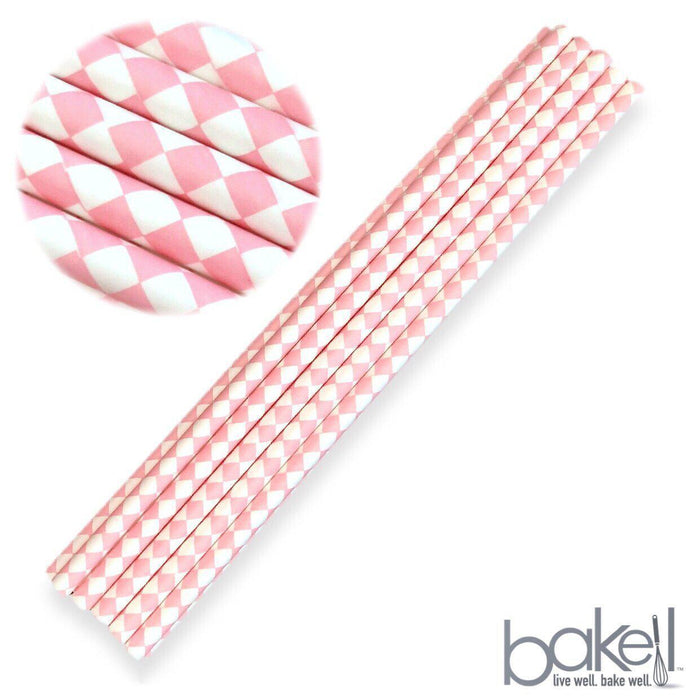 12 PC Cake Pop Party Straws - Light Pink and White Diamond Print-Cake Pop Straws-Bakell- | Bakell.com