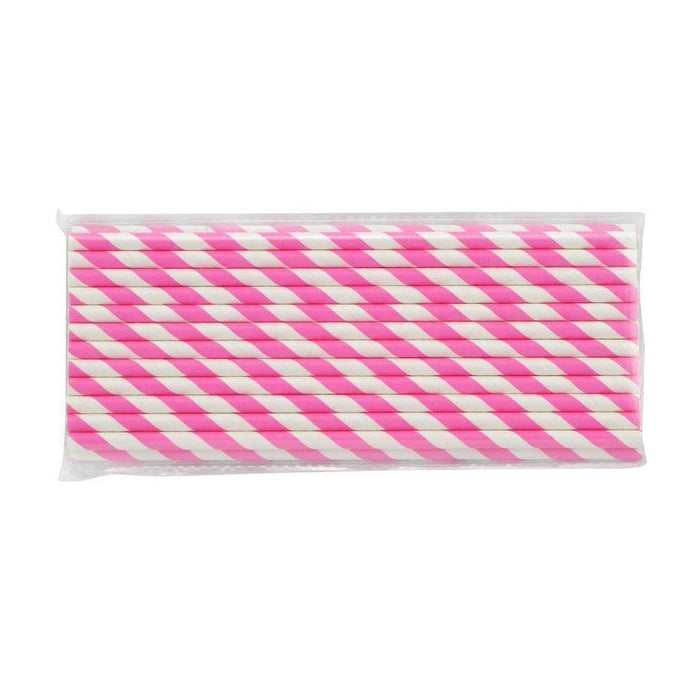 12 PC Cake Pop Party Straws - Pink Candy Cane Stripes-Cake Pop Straws-Bakell- | Bakell.com