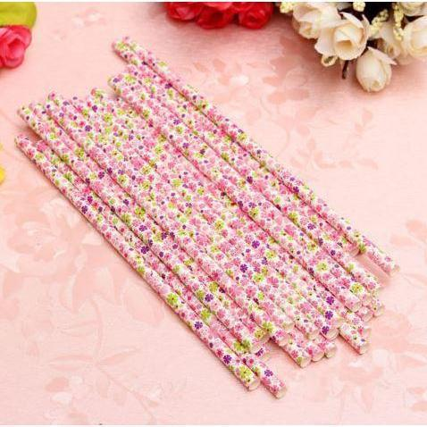 12 PC Cake Pop Party Straws - Pink Floral Flowers-Cake Pop Straws-Bakell- | Bakell.com