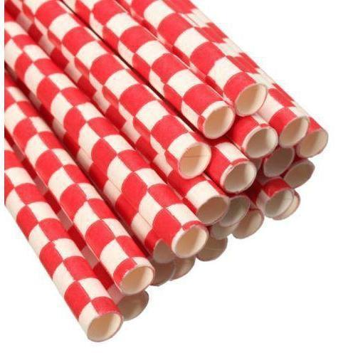 12 PC Cake Pop Party Straws - Red and White Checker Print-Cake Pop Straws-Bakell- | Bakell.com
