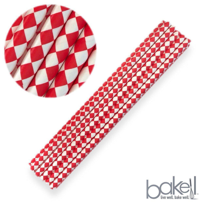12 PC Cake Pop Party Straws - Red and White Diamond Print-Cake Pop Straws-Bakell- | Bakell.com