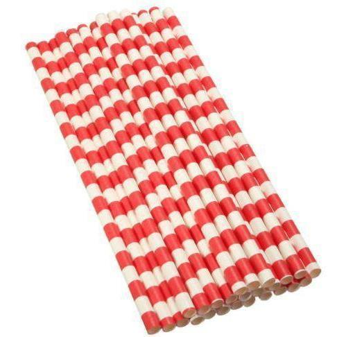 12 PC Cake Pop Party Straws - Red and White Stripes-Cake Pop Straws-Bakell- | Bakell.com
