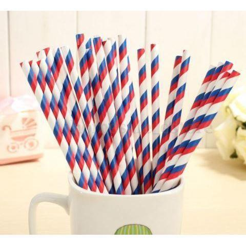 12 PC Cake Pop Party Straws - Red, White and Blue 4th of July Candy Cane Stripes-Cake Pop Straws-Bakell- | Bakell.com
