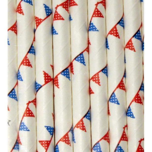 12 PC Cake Pop Party Straws - Red, White and Blue American Flag-Cake Pop Straws-Bakell- | Bakell.com