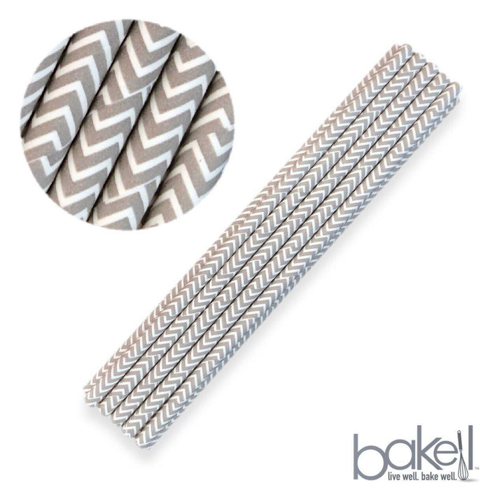 12 PC Cake Pop Party Straws - Silver Gray and White Chevron Grey Print-Cake Pop Straws-Bakell- | Bakell.com