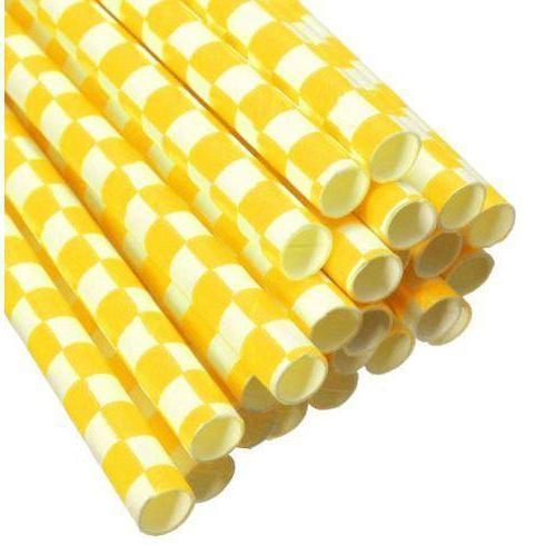 12 PC Cake Pop Party Straws - Yellow and White Checker Print-Cake Pop Straws-Bakell- | Bakell.com