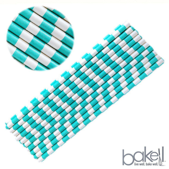 12 PC Mermaid Teal & White Stripped Cake Pop or Party Drinking Straws-Bakell- | Bakell.com