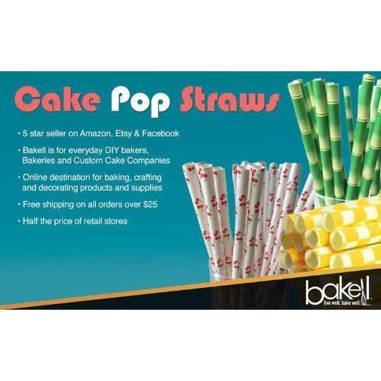 12 PC Silver and White Star Cakepop or Party Drinking Straws | Bakell-Bakell- | Bakell.com