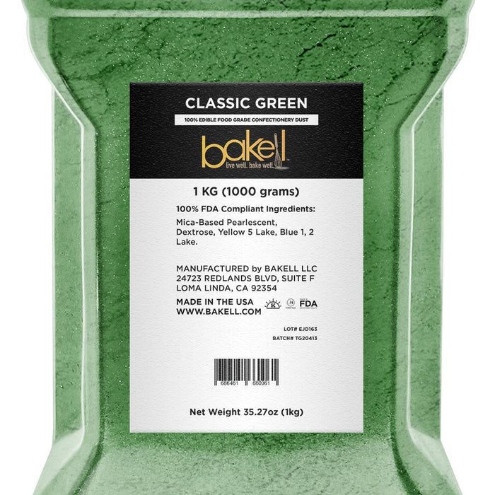 Classic Green Pearlized Edible Luster Dust-Luster Dusts-Bakell