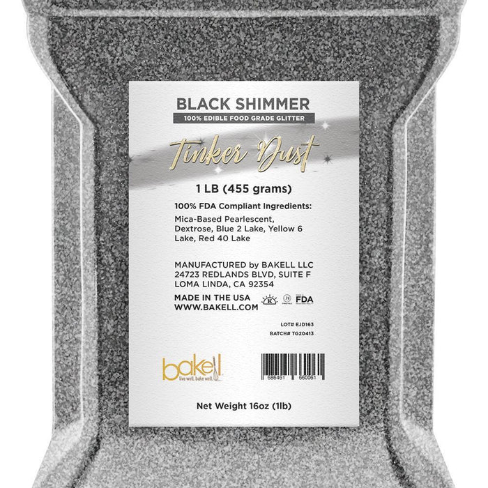 Black Tinker Dust Edible Glitter | Food Grade Glitter-Tinker Dust-Bakell