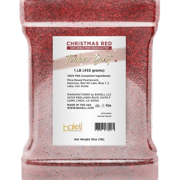 Christmas Red Tinker Dust Edible Glitter | Food Grade Glitter-Tinker Dust-Bakell