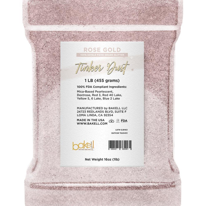 Rose Gold Tinker Dust Edible Glitter | Food Grade Glitter-Tinker Dust-Bakell