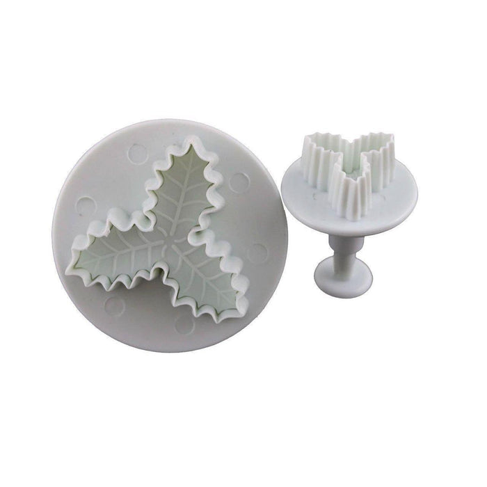 2 PC Holly Leaf Plunger Impression Cutter Set-Decorating Tools-Bakell- | Bakell.com