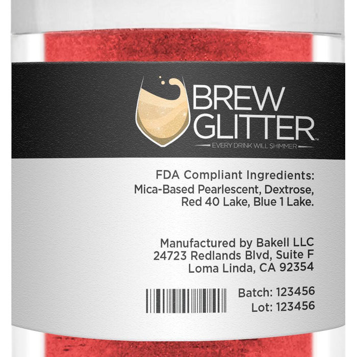 Red Brew Glitter | Edible Glitter for Sports Drinks & Energy Drinks-Sports Drink_Brew Glitter-Bakell