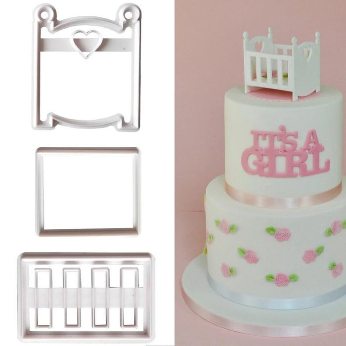 3 PC Baby Shower Crib Pattern Confectionery Cutter | Bakell.com