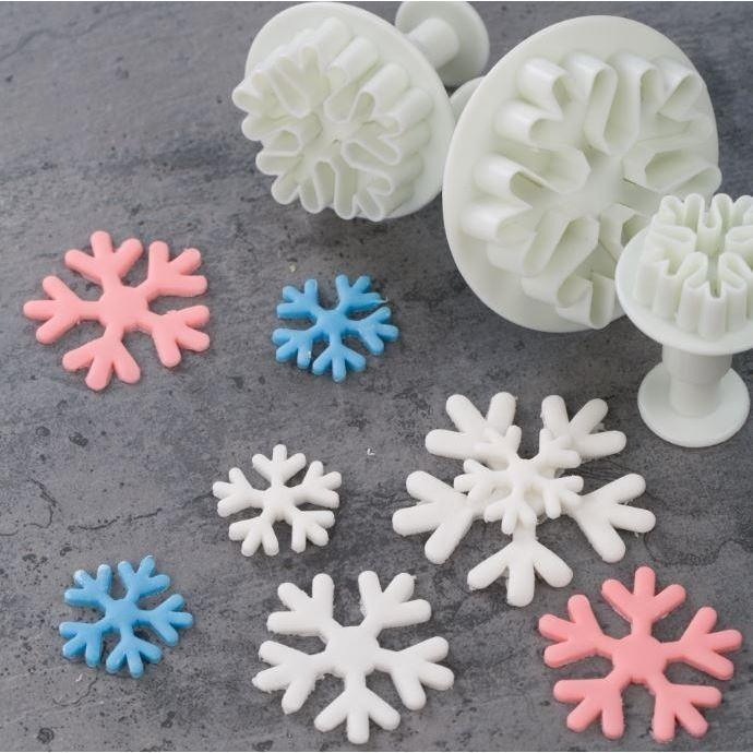 3 PC Chunky Snowflake Impression Cutters-Decorating Tools-Bakell