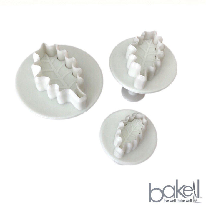 3 PC Holly Leaf Plunger Impression Cutter Set-Decorating Tools-Bakell- | Bakell.com
