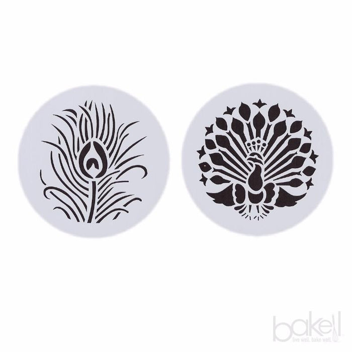 2 PC Set 2.75x2.75 Peacock Round Stencil-Stencils-Bakell- | Bakell.com
