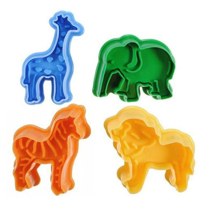 4 PC Animal Impression Stamps Giraffe Elephant Lion Zebra Jungle Safari-Cookie Cutters-Bakell- | Bakell.com