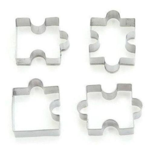 4 PC Fitted Puzzle Pieces Cookie Cutter Set-Cookie Cutters-Bakell- | Bakell.com