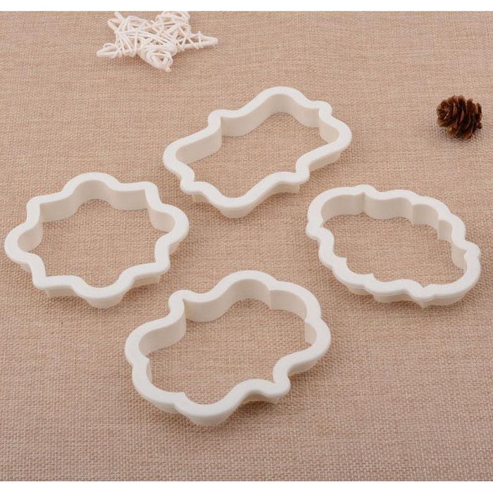 4 PC Plastic Frame Pattern Shape Cookie Cutters Set-Cookie Cutters-Bakell- | Bakell.com