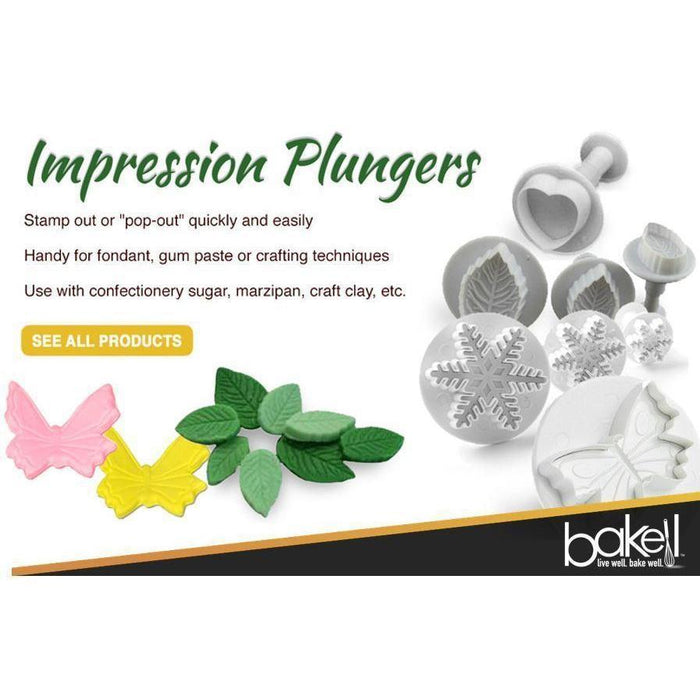 4 PC Set Daisy Flower Sugarcraft Impression Plunger Pop-out Cutters-Decorating Tools-Bakell- | Bakell.com