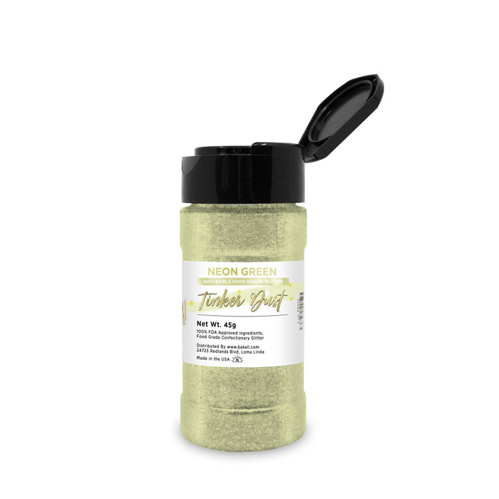 Neon Green Tinker Dust Edible Glitter, 5g Jar | Food Grade Glitter-Tinker Dust-Bakell