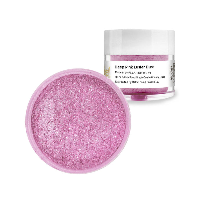 Edible Deep Pink Luster Dust | FDA Approved & Kosher Certified Edible Glitter | Edible Pink Paint | Pink MICA Powder | Bakell.com