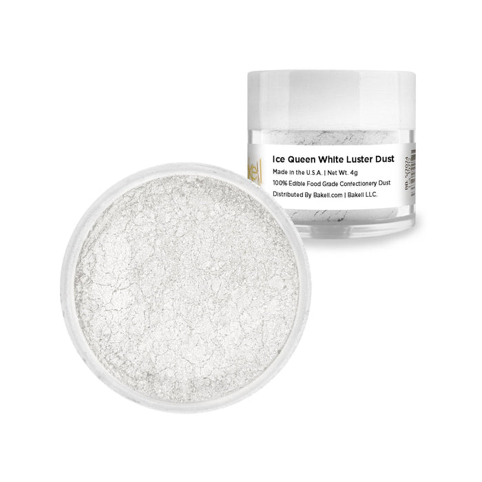 Ice Queen White Edible Luster Dust  | FDA Approved Glitter & Kosher Certified Glitter | Edible Paint | MICA Powder | Bakell.com