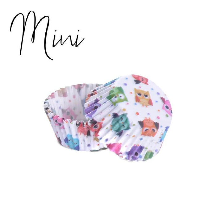 50 PC MINI Cupcake Liners, Owl Print Wrappers | Bakell® Wrappers
