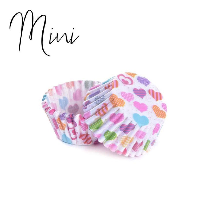 50 PC MINI Cupcake Liners, Rainbow Hearts Print Wrappers | Bakell®