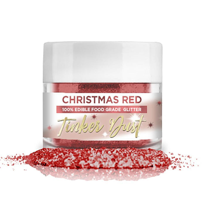 Christmas Red Tinker Dust Edible Glitter, 5g Jar | Food Grade Glitter-Tinker Dust-Bakell
