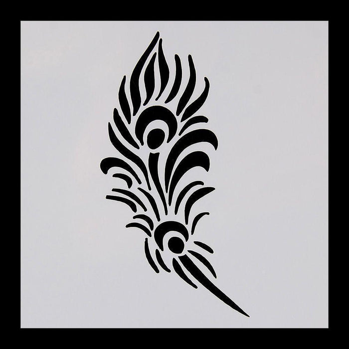 5x5 Peacock Feather Print Decorating Stencil | Bakell-Stencils-Bakell- | Bakell.com