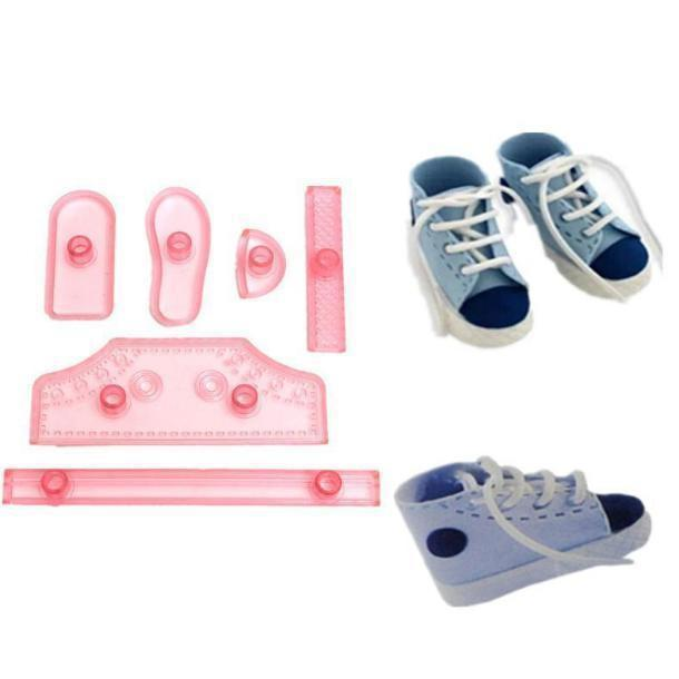 6 PC Baby Shoe Sneakers Pattern Sugarcraft Tool Set-Decorating Tools-Bakell- | Bakell.com