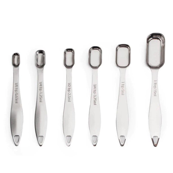 6 Piece Stainless Steel Nested Measuring Spoon Set-Baking Supplies-Bakell- | Bakell.com