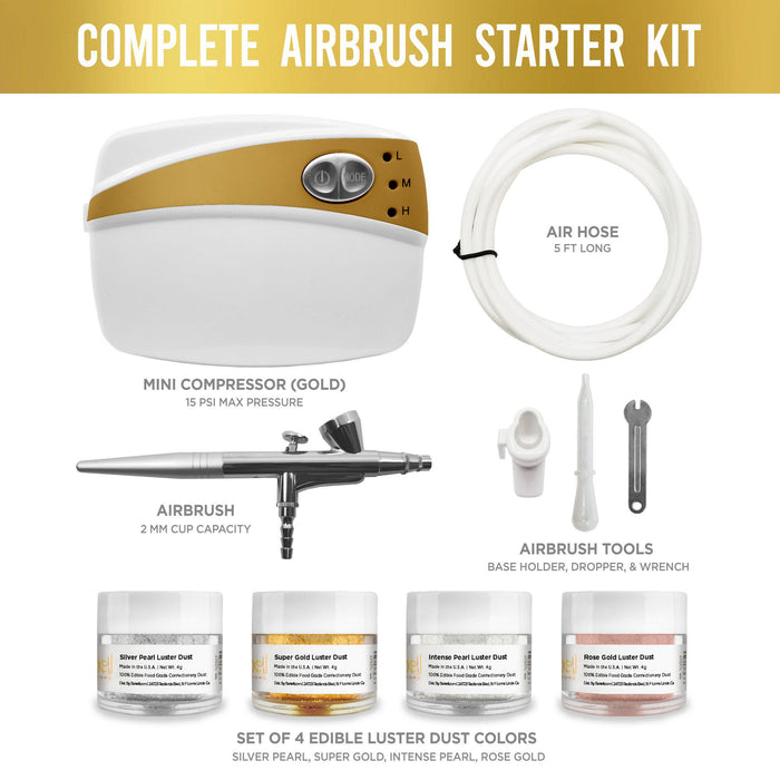 Airbrush Gun Kit - Bakell.com | #1 Selling Airbrush Gun for Decorating | Includes Luster Dust Edible Paint